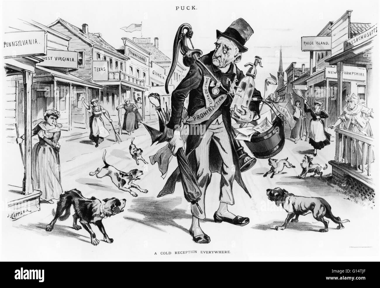 Political cartoon showing Old Man Prohibition receiving 'a cold reception everywhere.' - Stock Image