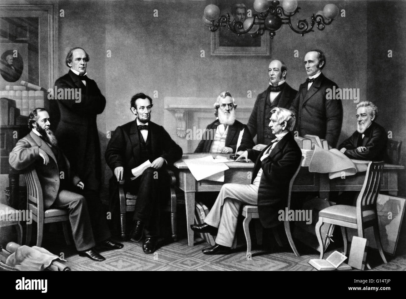 The first reading of the Emancipation Proclamation before the cabinet. Engraving by Alexander Hay Ritchie, 1866. - Stock Image