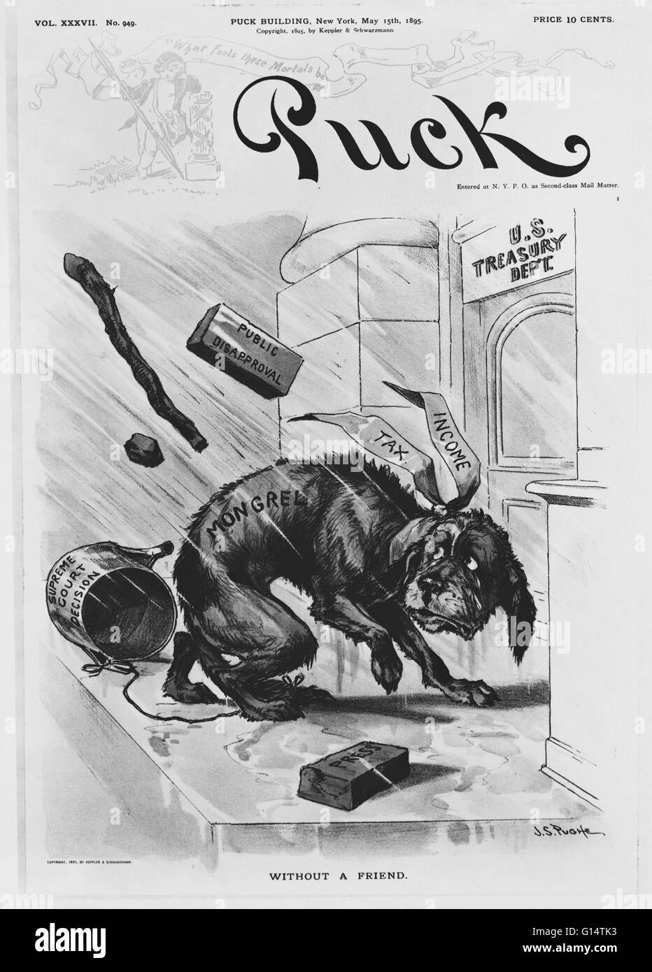 1895 political cartoon 'Without a Friend' from Puck magazine, satirizing the income tax debate. That year, - Stock Image