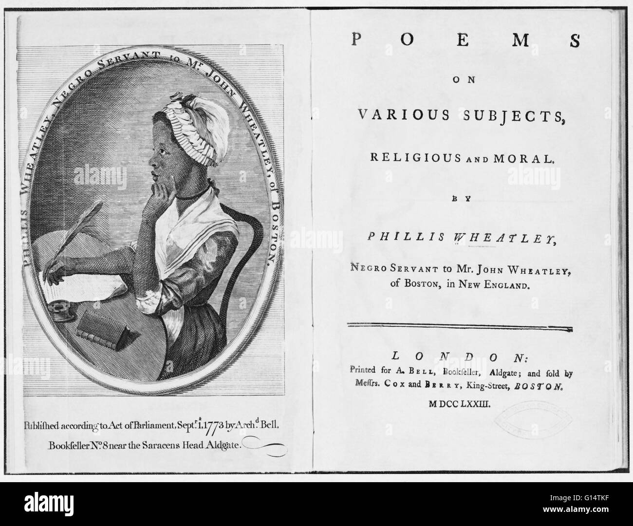 Engraving of Wheatley by Scipio Moorhead in the Frontispiece to her book of poetry. Phillis Wheatley (1753 - December Stock Photo