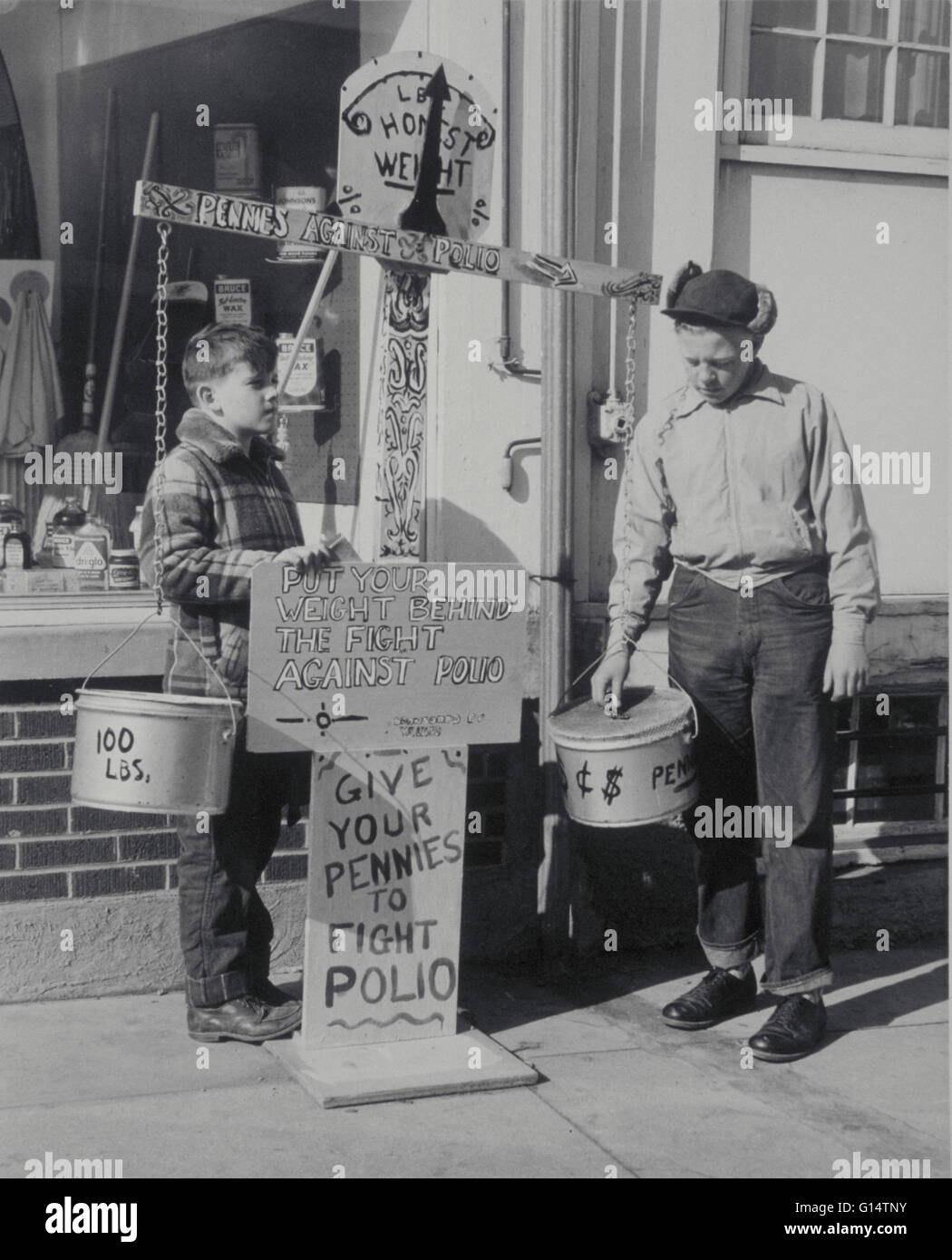 Boys raise money for the fight against Polio. United States, circa early 1950's. Polio is an acute infectious - Stock Image