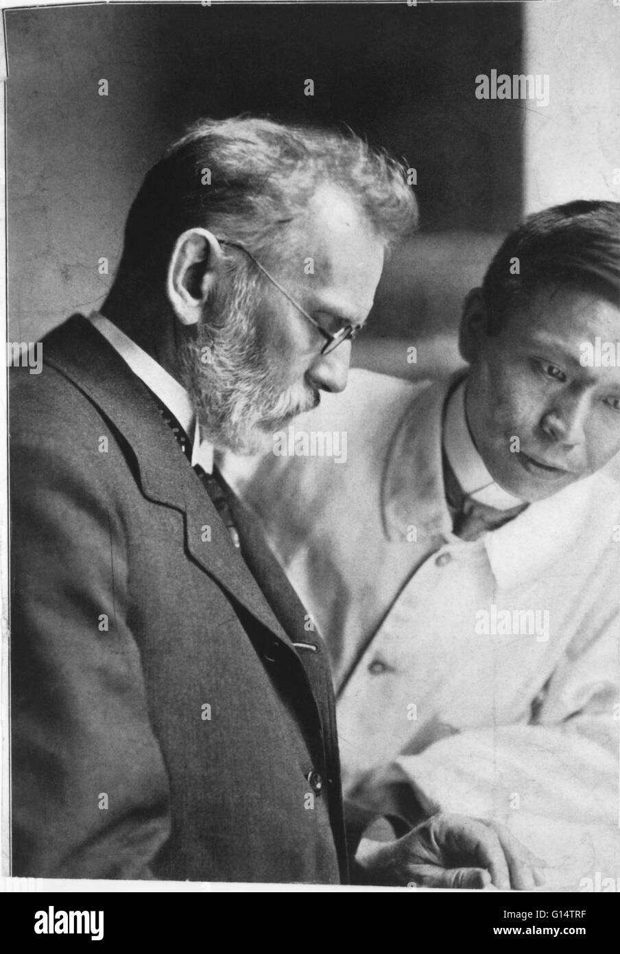Ehrlich and Hata. Portrait of Paul Ehrlich (1854-1915) and Sahachiro Hata (1873-1938), the bacteriologists from - Stock Image