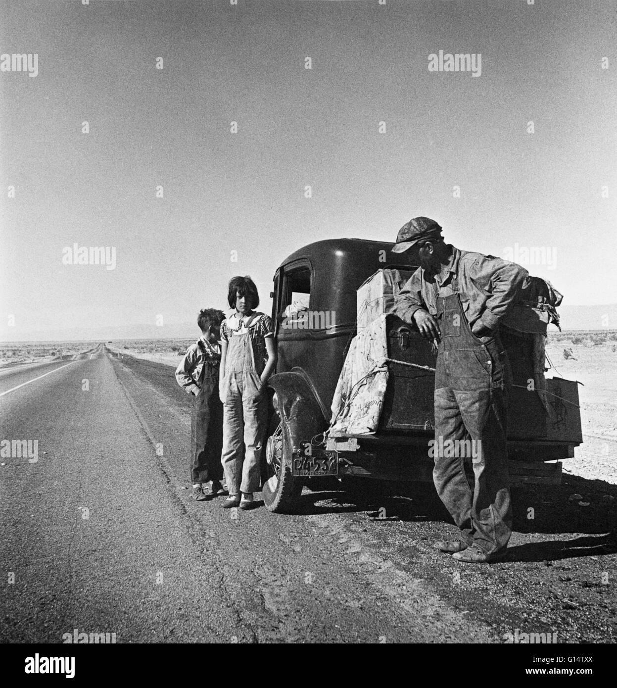 'Entering the California Desert,' by Dorothea Lange, a depression-era Farm Security Administration photographer - Stock Image