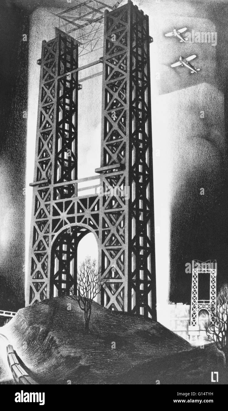 1928 lithograph by Louis Lozowick of a the Hudson River Bridge, still under construction.  This bridge was completed - Stock Image