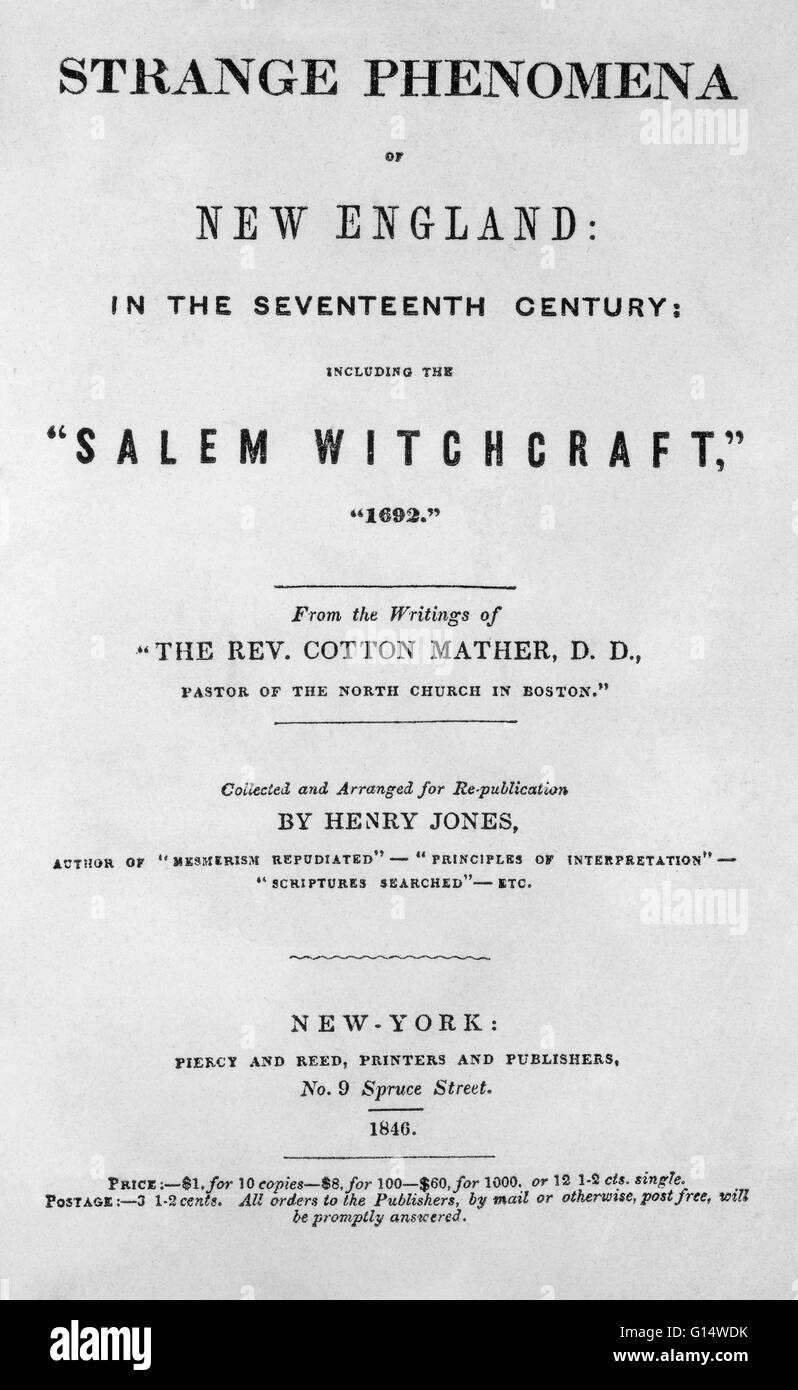 Title page of 'Strange Phenomena of New England In the Seventeenth Century, Including the Salem Witchcraft, - Stock Image