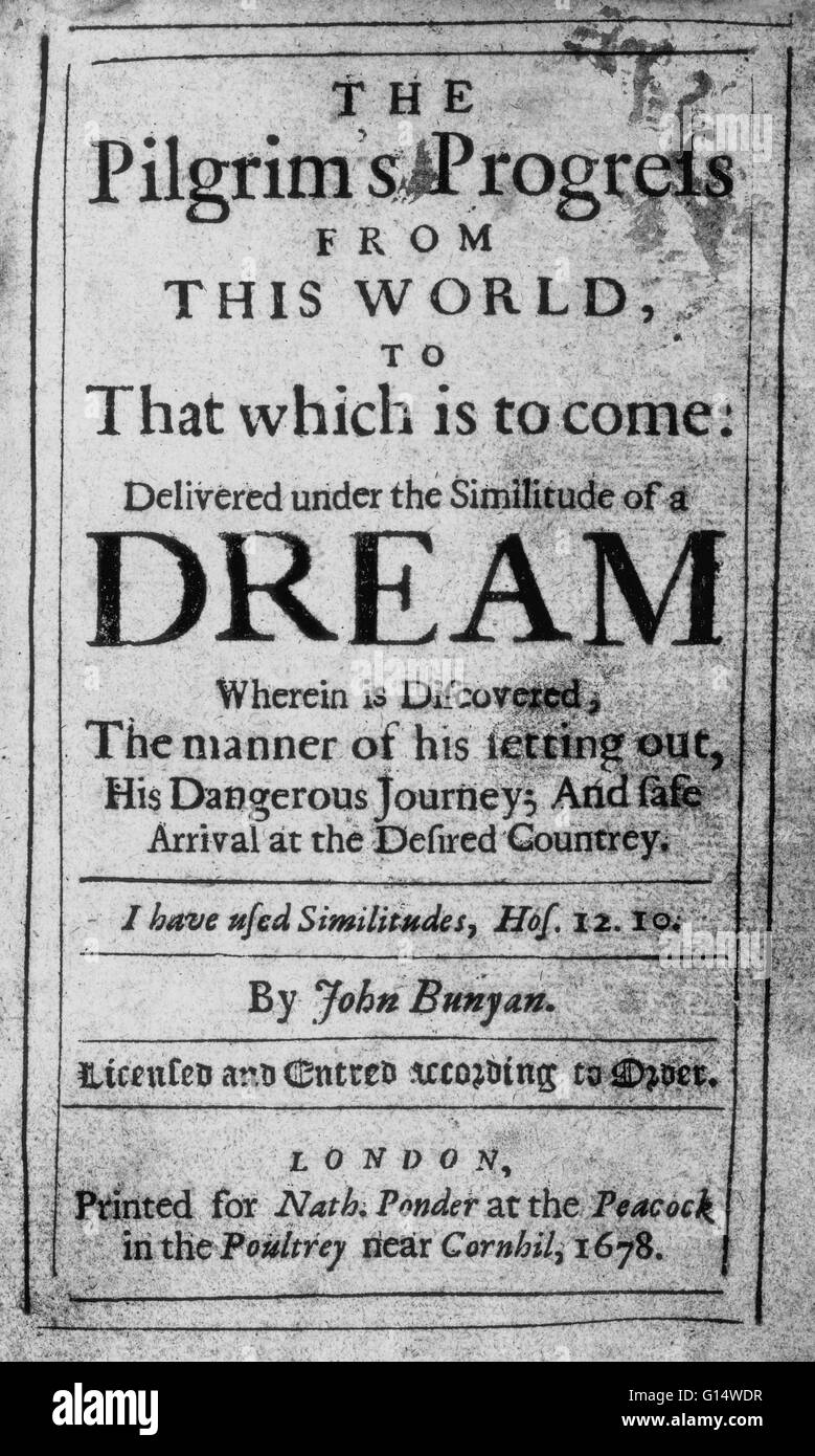 Title page of 'The Pilgrim's Progress' by British author John Bunyan. The book is a Christian allegory - Stock Image