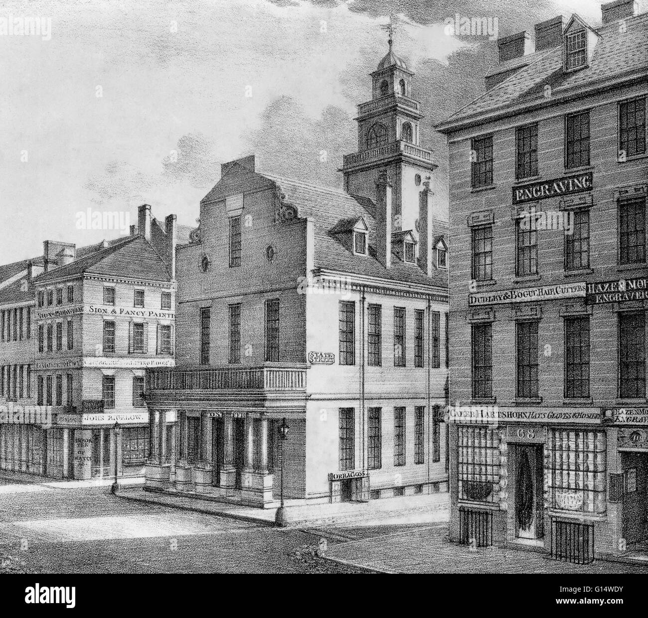 View of the Post Office and City Hall seen from the southwest on Washington Street, Boston, Massachusetts. 19th Stock Photo