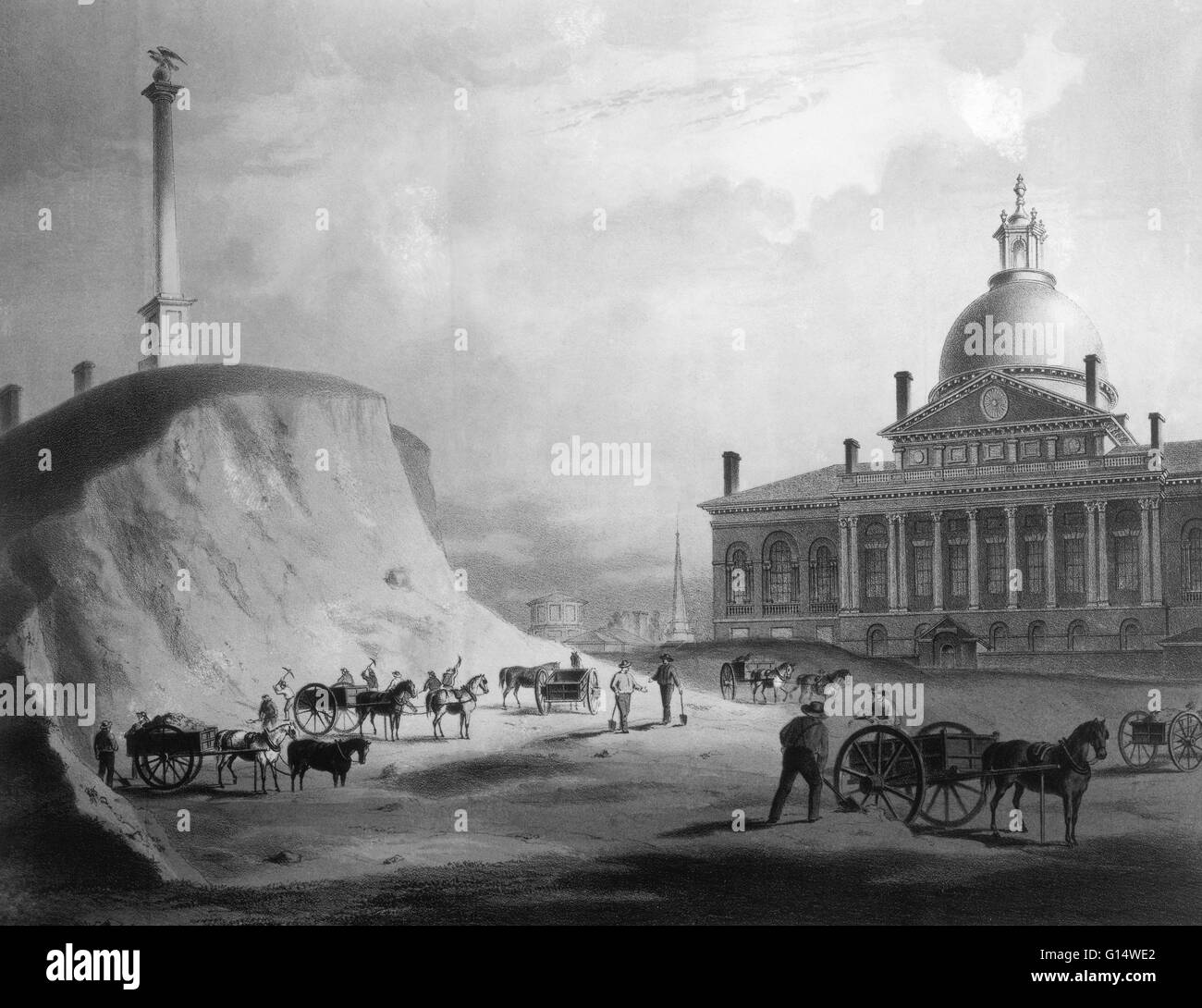 Workers leveling Beacon Hill, Boston, in 1811; a view from the north towards the Massachusetts State House. Lithograph - Stock Image