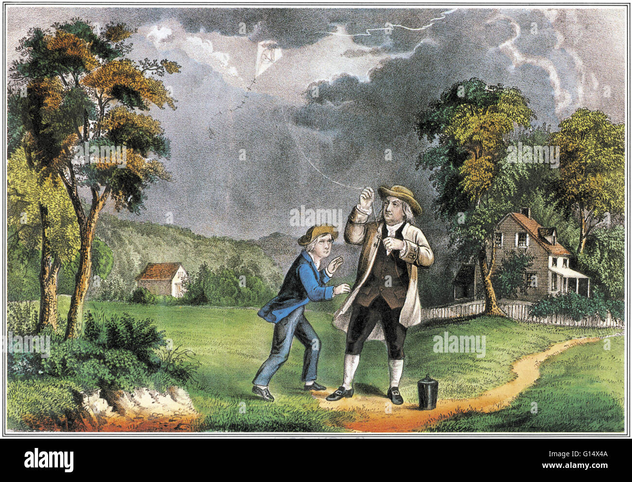 Franklin experiments with kite and key, June 1752. Benjamin Franklin  (1706-1790) was one of the Founding Fathers of the United States.