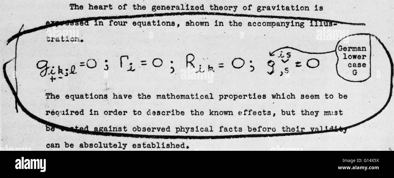 The four equations associated with Albert Einstein's theory of gravity, a theory crucial to Einstein's general - Stock Image