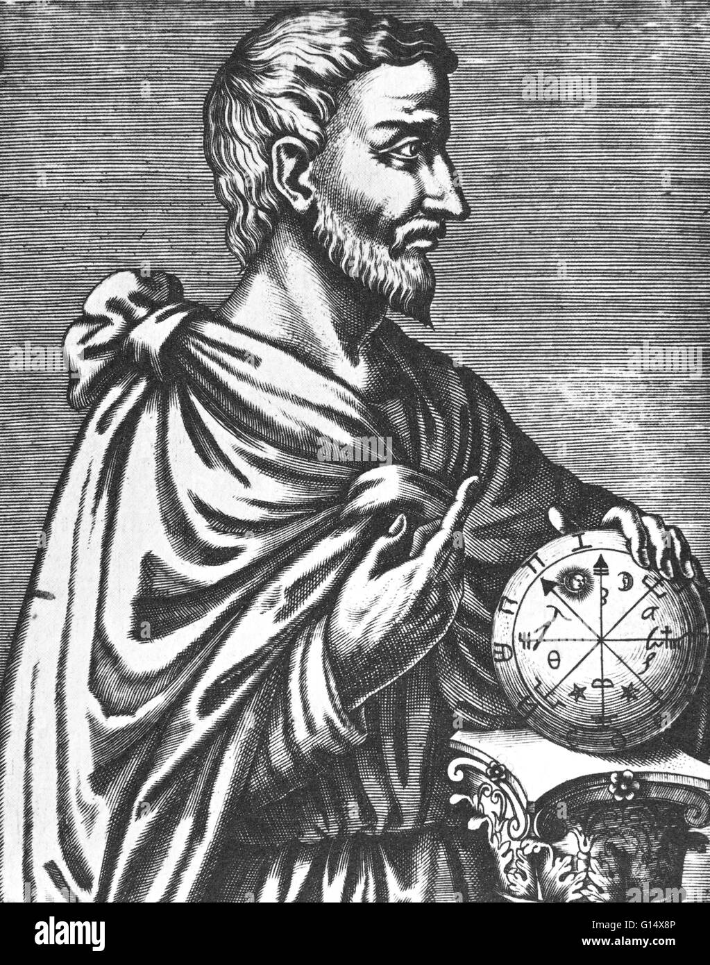 Pythagoras of Samos (570 - 495 BC) was an Ancient Greek philosopher, mathematician, and founder of the religious - Stock Image
