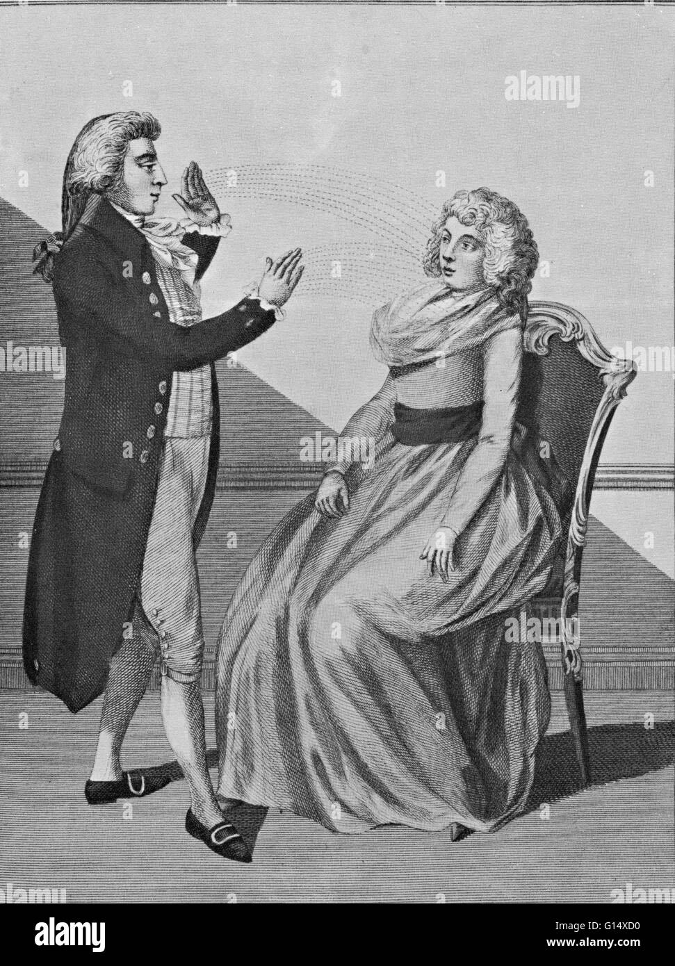 Mesmer hypnotizing a patient. Franz Anton Mesmer (1734-1815) was a German physician with an interest in astronomy, - Stock Image