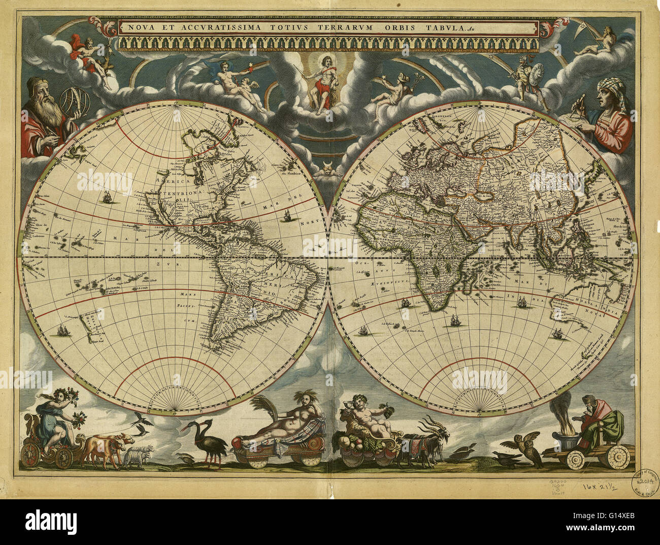 World map, published around 1664 in Amsterdam, the Netherlands, by Dutch mapmaker Joan Blaeu (c.1599-1673). The - Stock Image