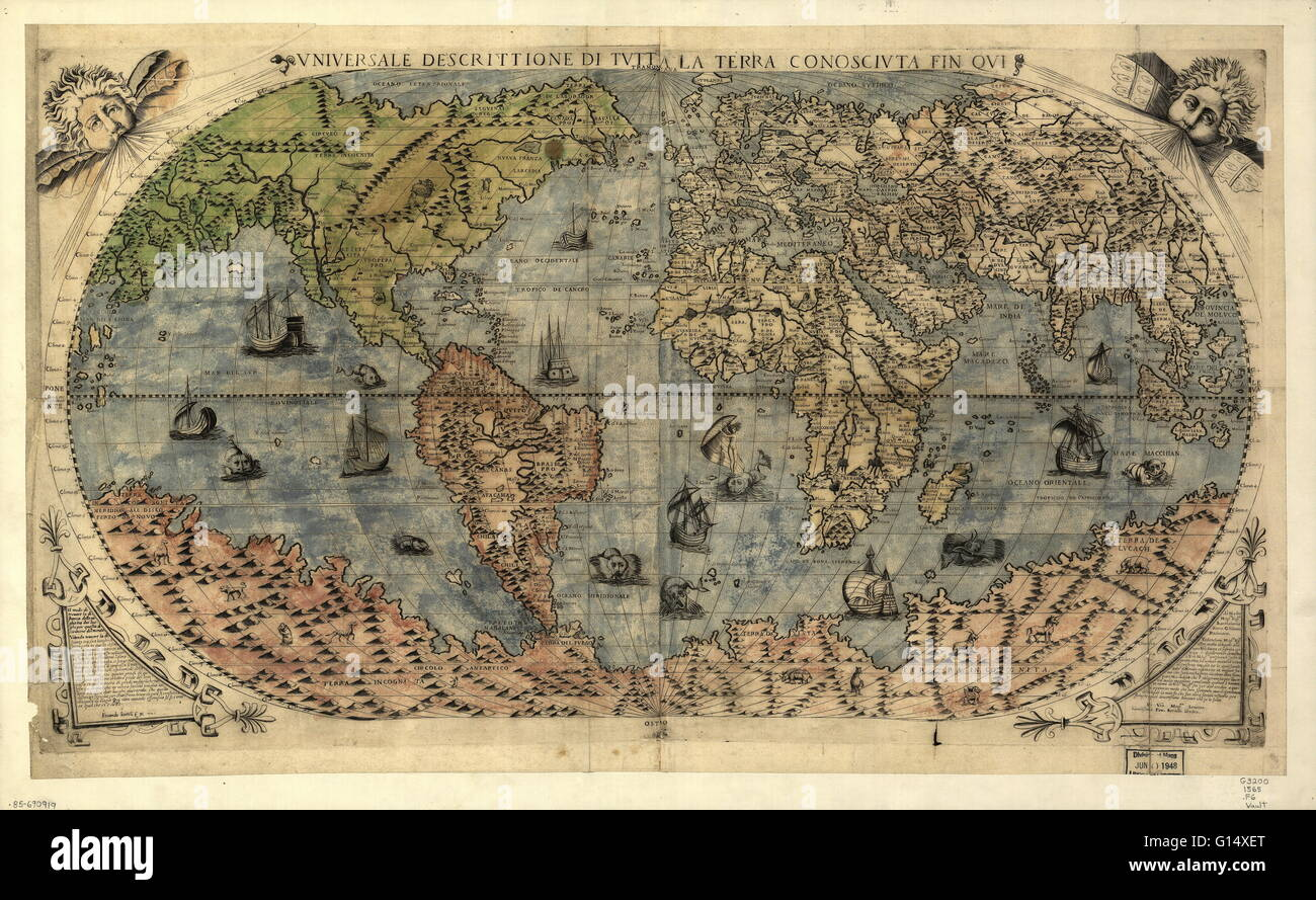 World map, published around 1565 in Venice, Italy, by Italian mapmaker Ferando Bertelli. The title of the map: Universale - Stock Image