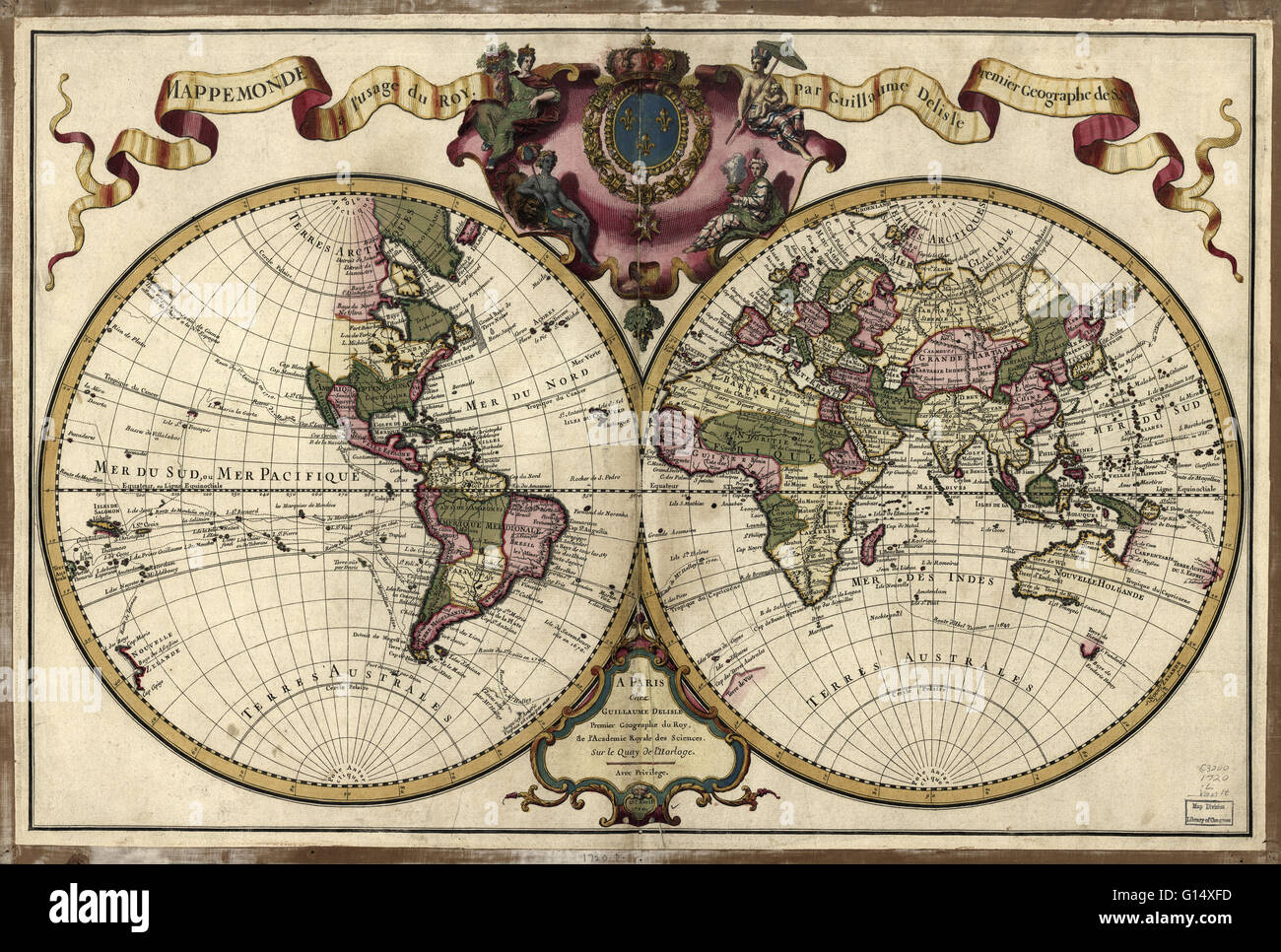 18th Century Map Of The World Published In Paris In 1720 This