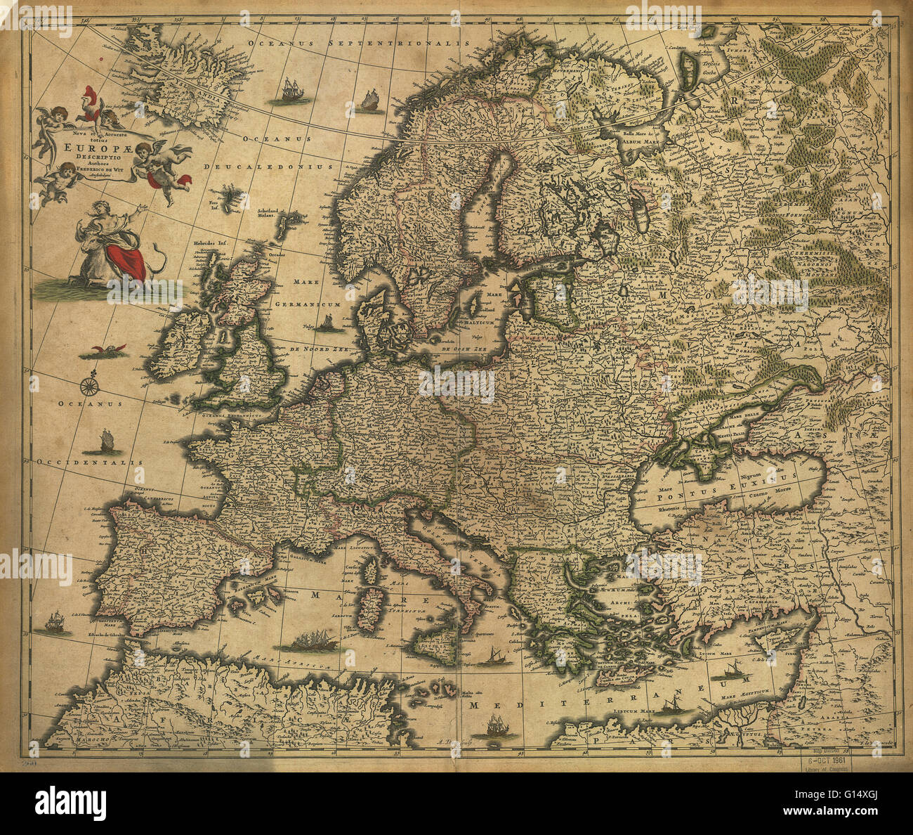 published in 1700 this map by the dutch cartographer frederick de witt 1630 1706 shows the latest knowledge of the geography of europe