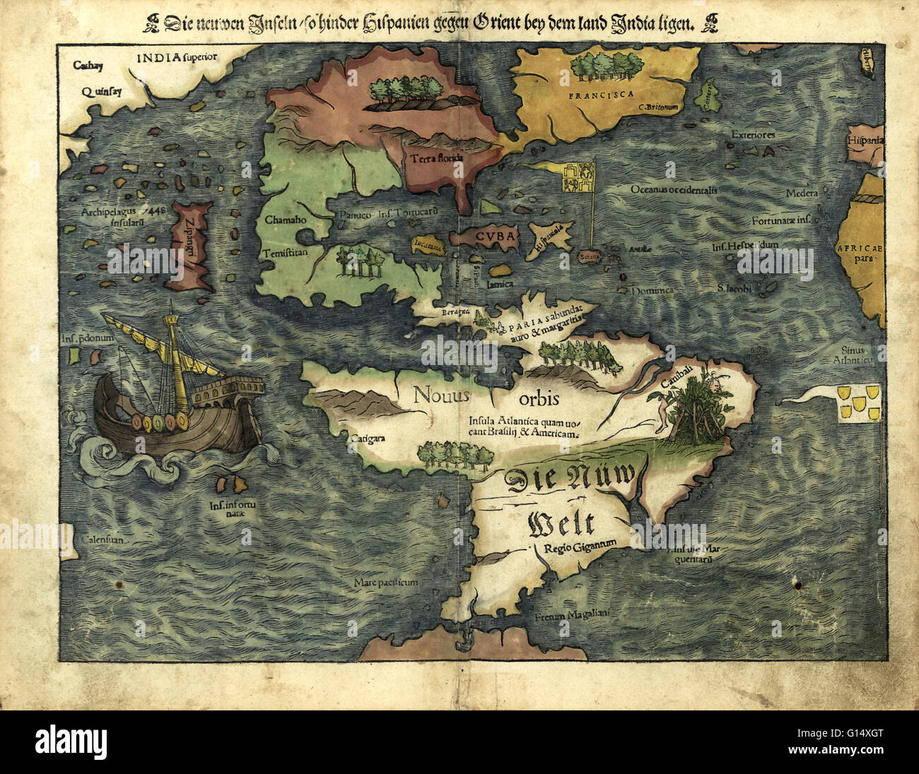 16th century map of the Americas. Published in 1550, this German map shows a rudimentary geography of the newly - Stock Image