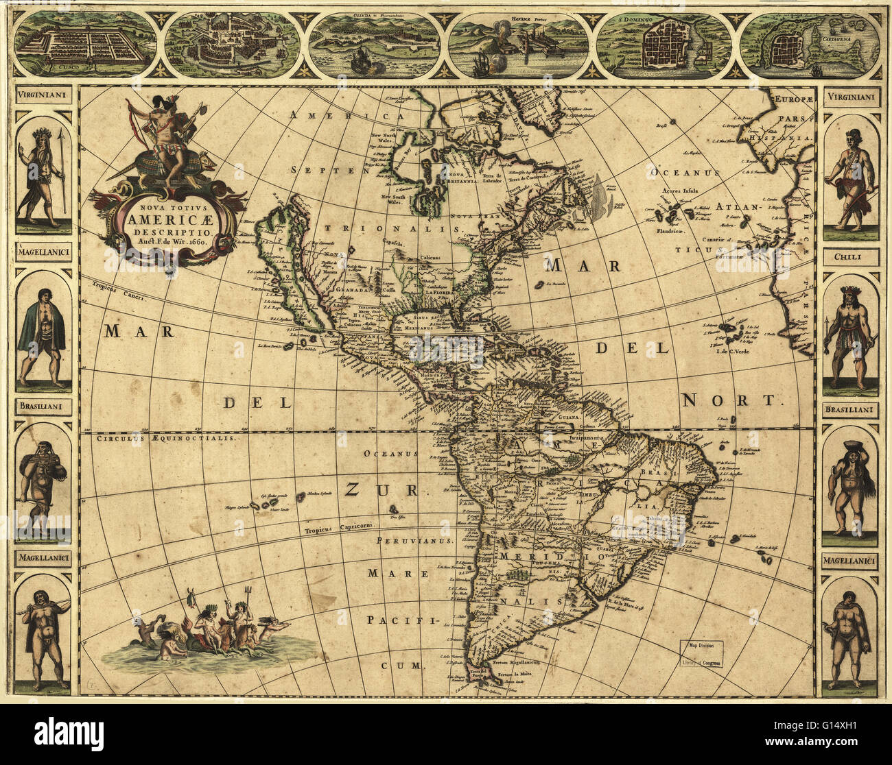 Published in Amsterdam in 1660, this map by the Dutch cartographer  Frederick de Wit (c.1630-1706) shows the geography of the Americas, the New  World being ...