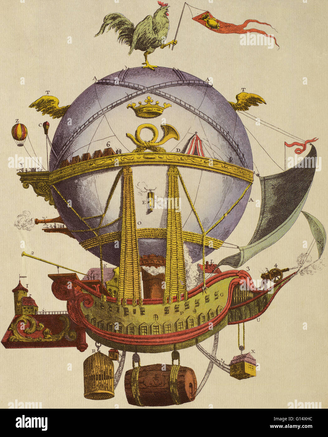 A design for an enormous hot air travel balloon called Le Minerve (Minerva) from 1803 by a French doctor named Etienne - Stock Image