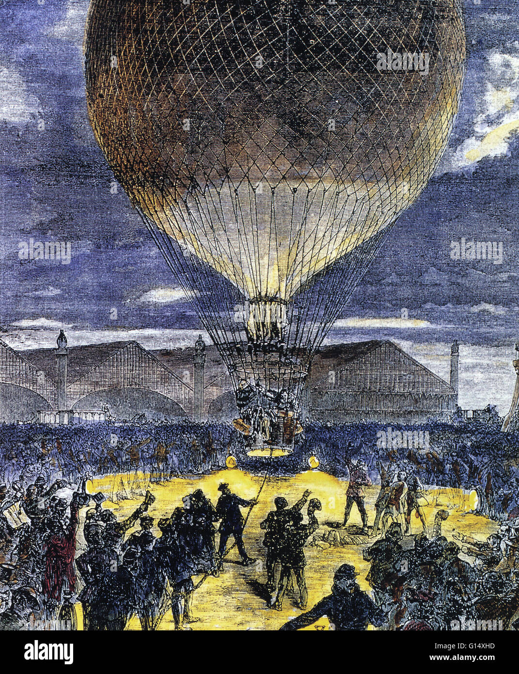 The launch of a hydrogen-filled balloon. Hydrogen-filled balloons were used to fly over hostile territory during - Stock Image