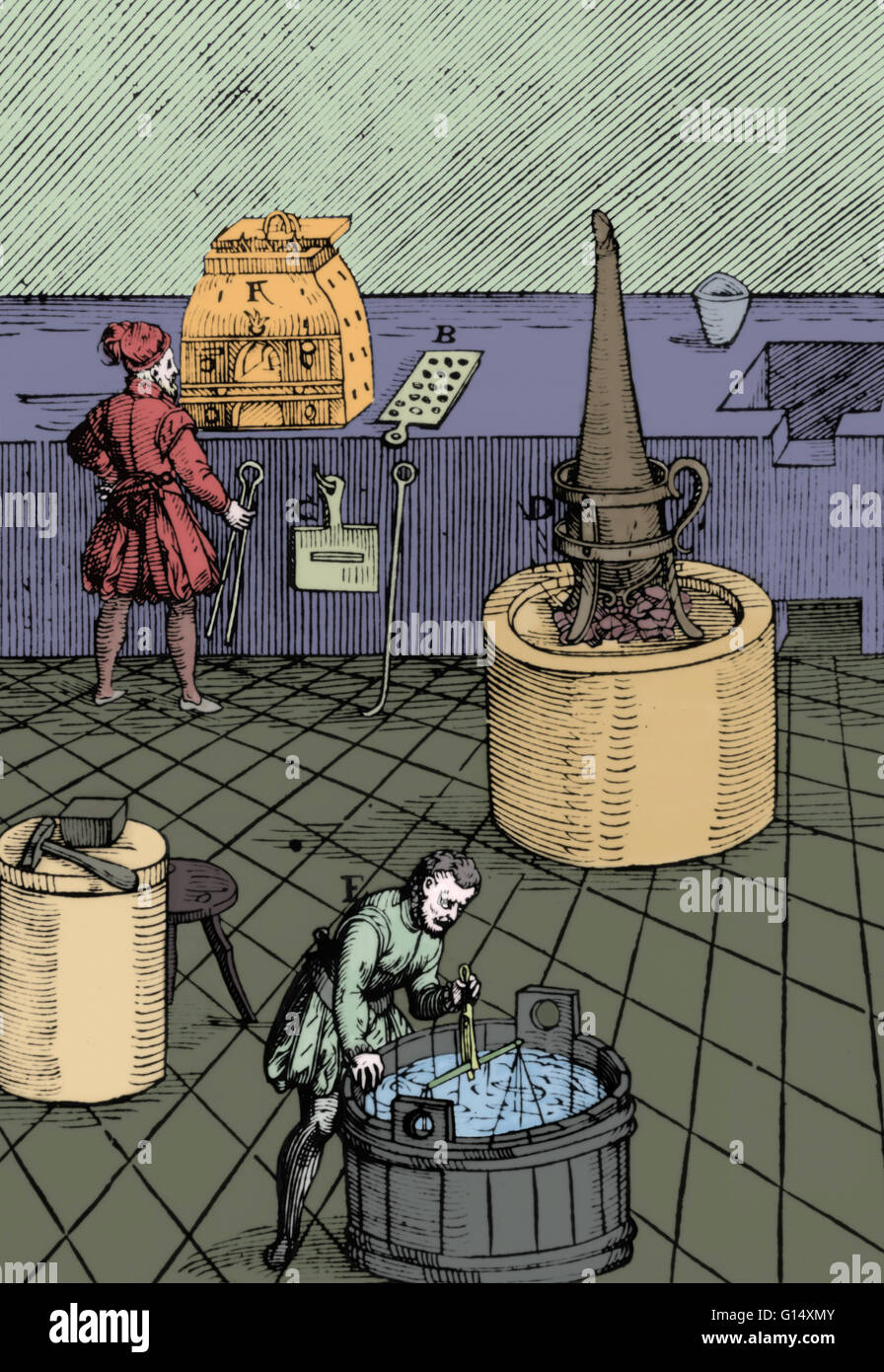 Colorized engraving of a laboratory used for chemical analysis or assaying. The various pieces of equipment are Stock Photo