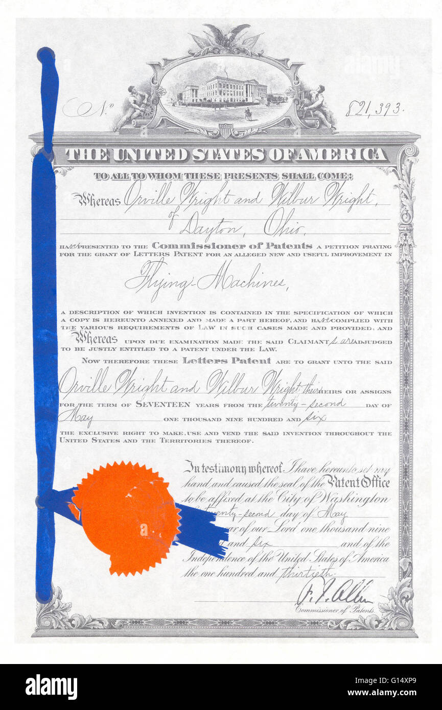 Submitted in 1903, the Wright brothers finally received this patent in 1906 for their airplane that they tested - Stock Image