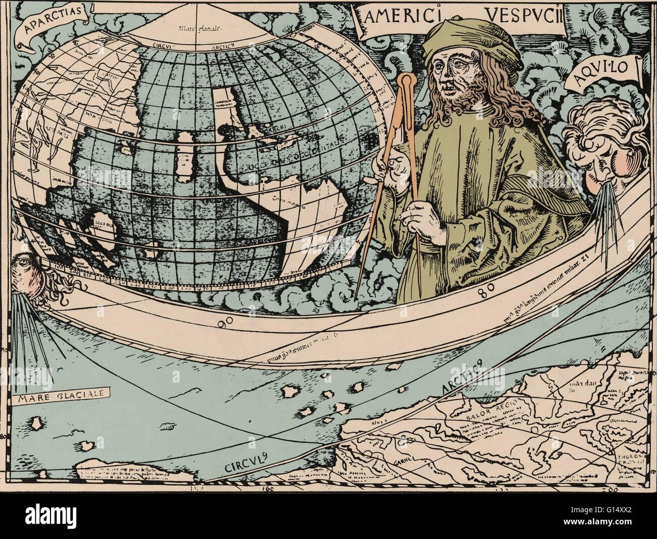 Vespucci gazes at New World in a panel of 1507 map by Martin Waldseemuller.  Amerigo Vespucci (March 9, 1454 - February 22, 1512) was an Italian  explorer, ...
