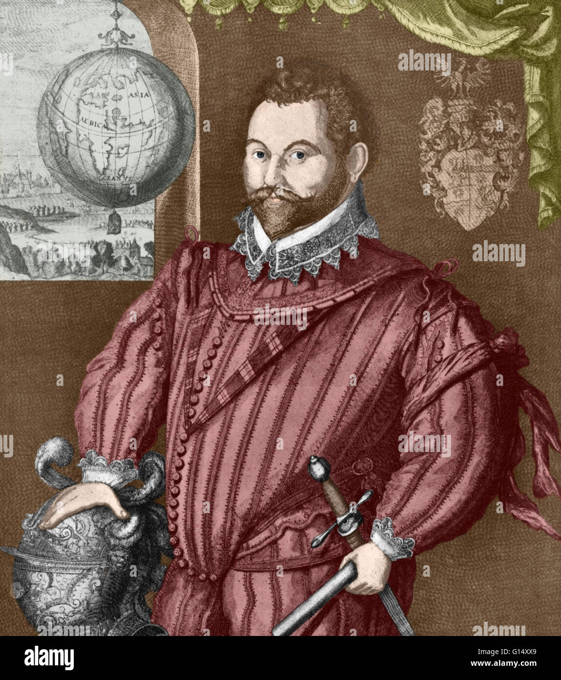 Sir Francis Drake, Vice Admiral (1540-1596) was an English sea captain, privateer, navigator, slaver, explorer and - Stock Image