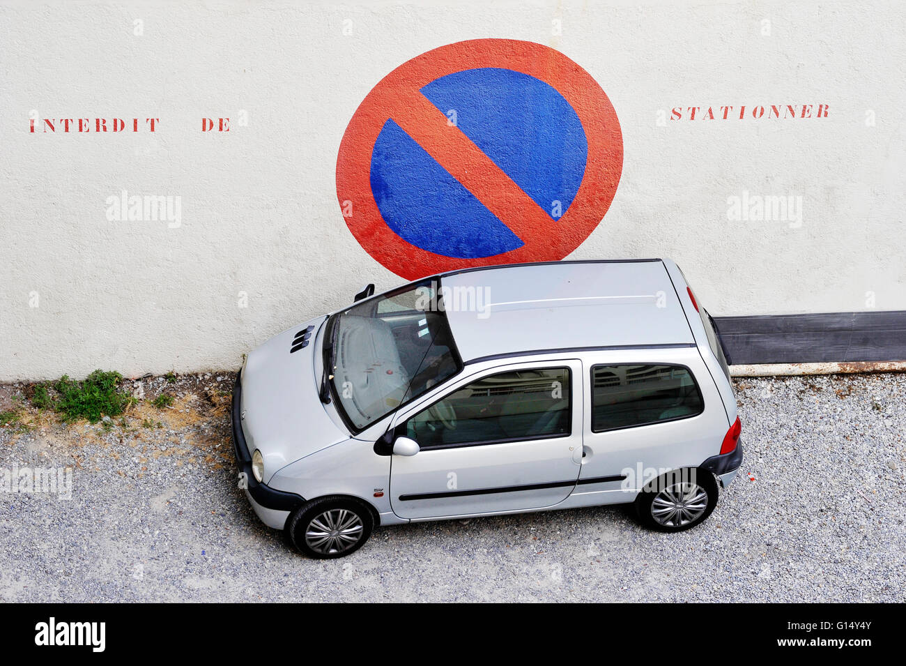 No parking sign with a car, Juan les Pins, France - Stock Image