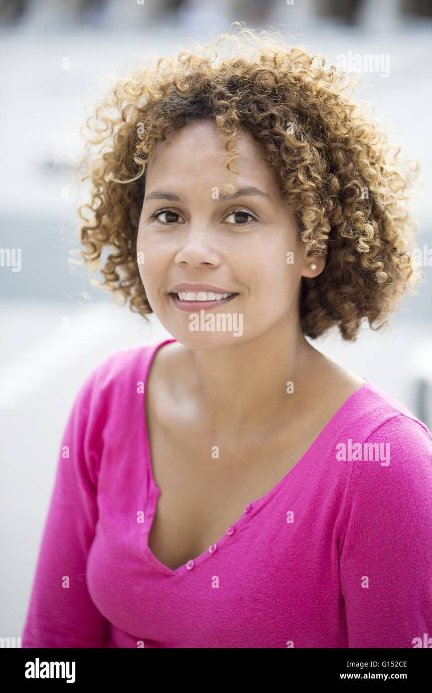 Close-up of smiling Malagasy woman - Stock Image