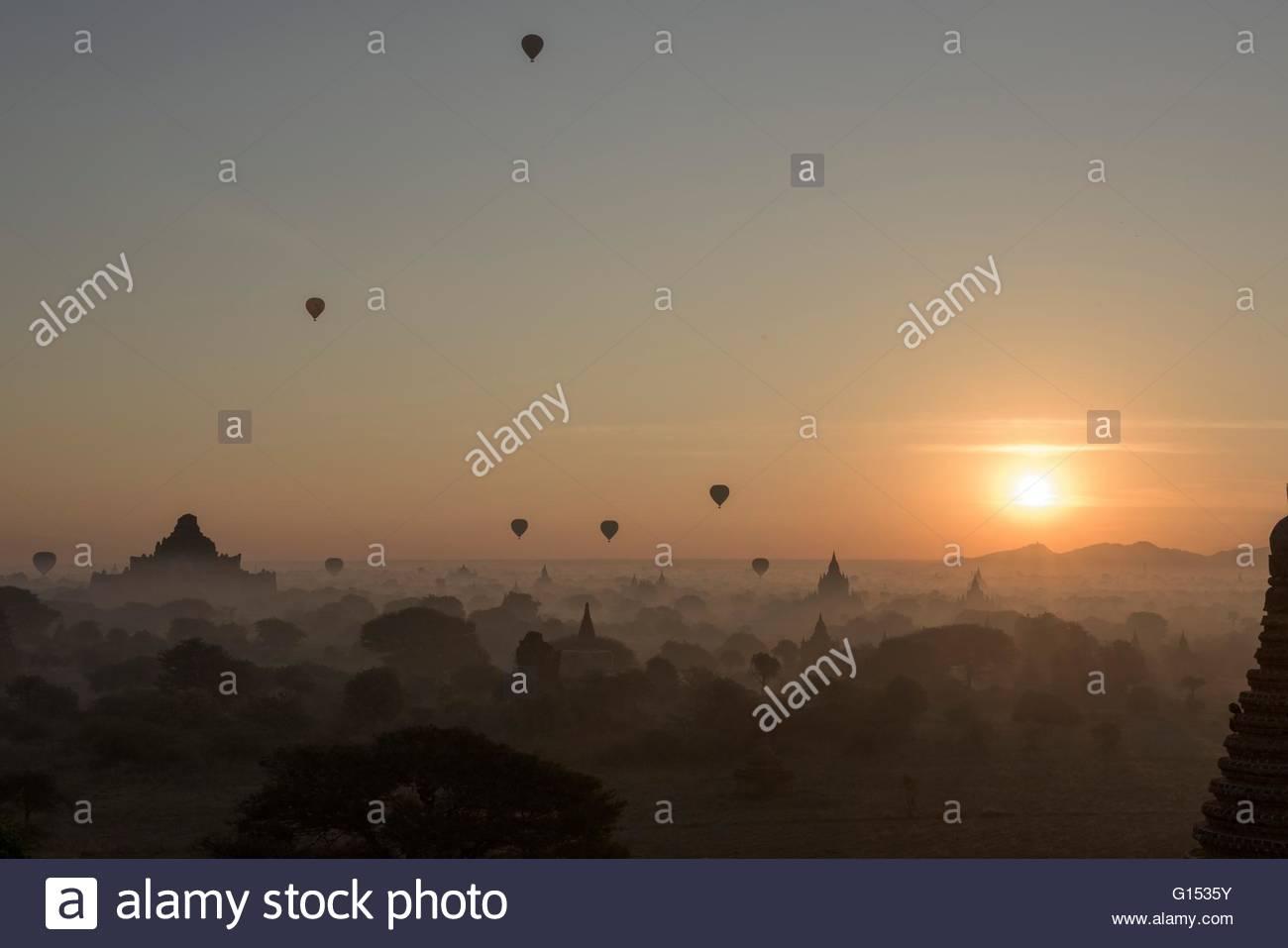 Myanmar, Bagan, hot air balloons - Stock Image