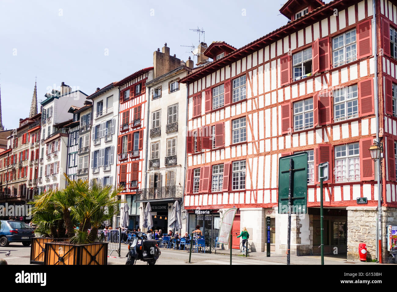 Grand Bayonne, Street view with ancient buildings in Basque, French architecture, Bayonne, France. - Stock Image