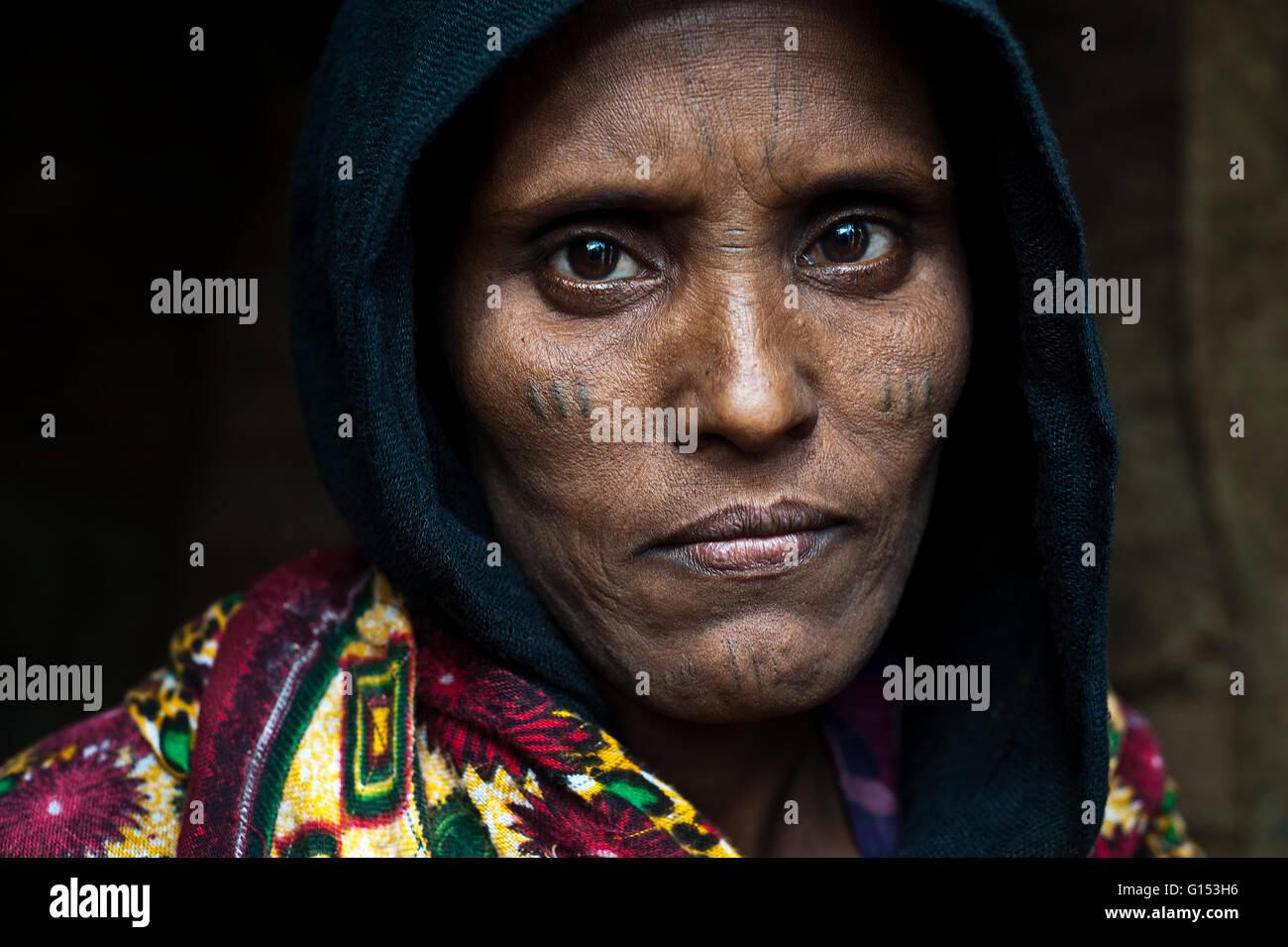 Female Eritrean refugee in Ethiopia She belongs to the Afar tribe. - Stock Image