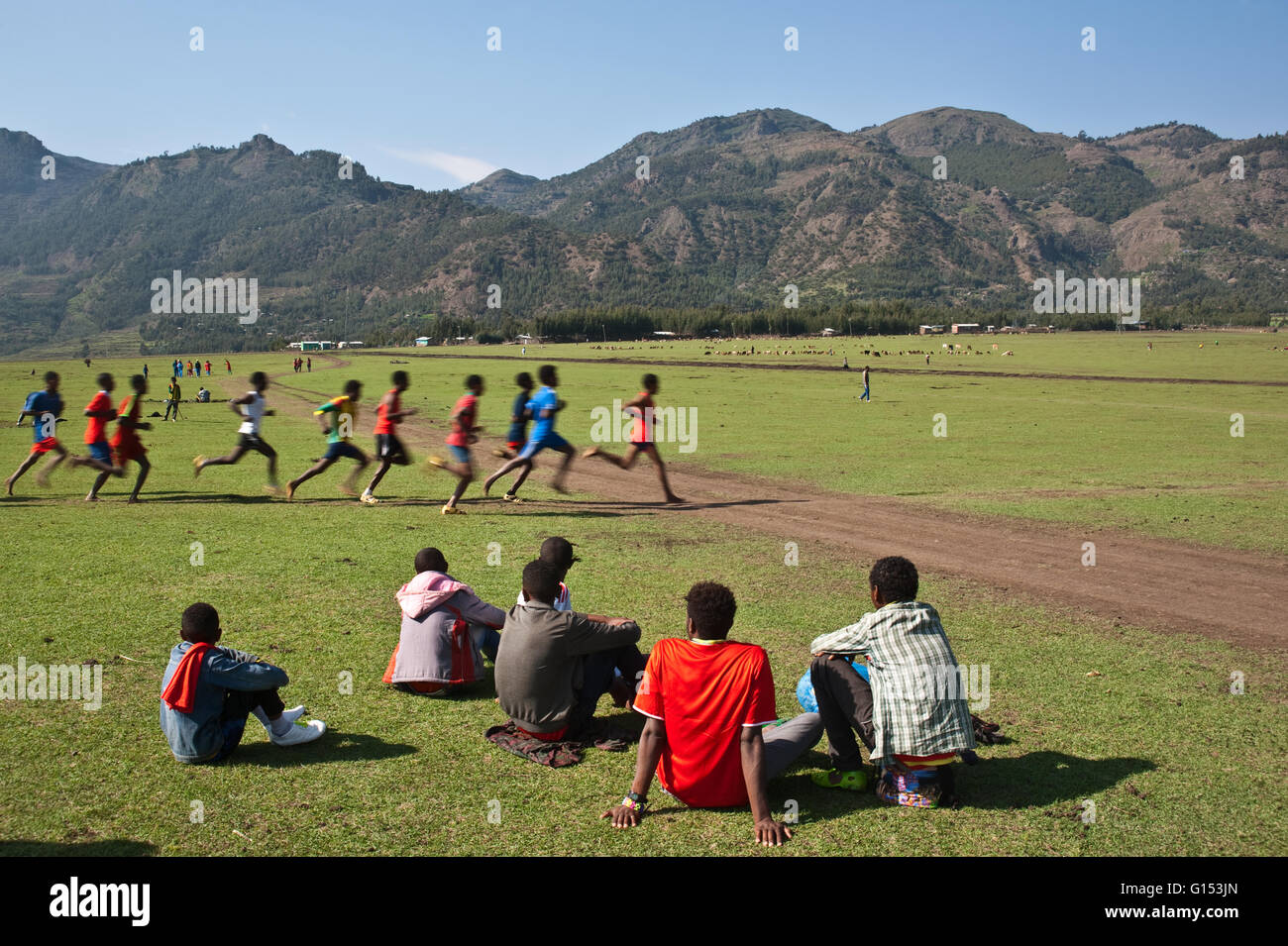 Long distance race at the local level at the altitude of 2500 m. - Stock Image