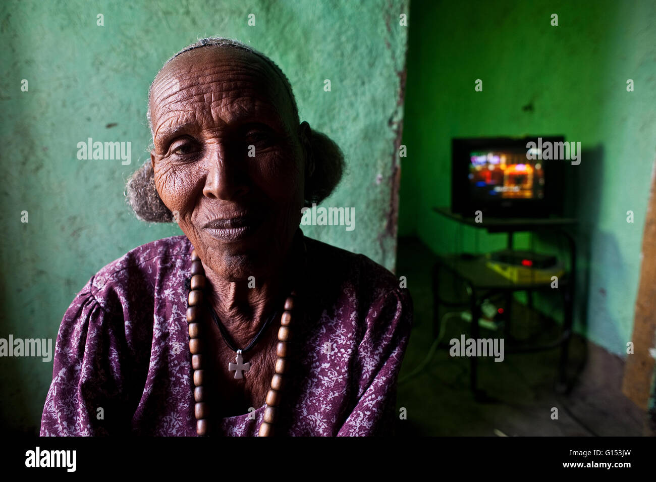 Orthodox christian woman at home ( Ethiopia) - Stock Image