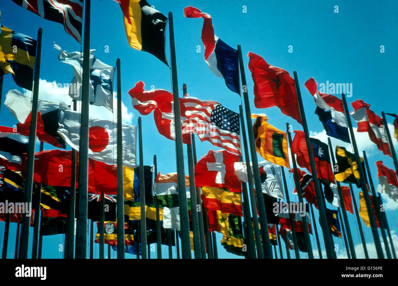Massed flags of the nations of the world. - Stock Image