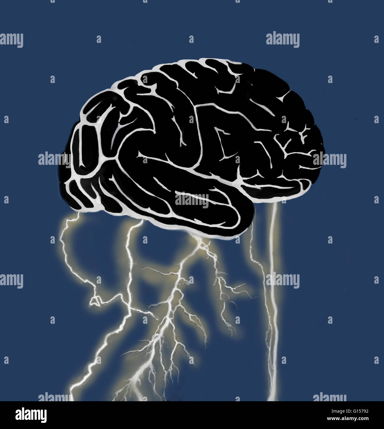 Conceptual illustration of a brainstorm. The lightning at the base of the brain could represent the electrical activity Stock Photo
