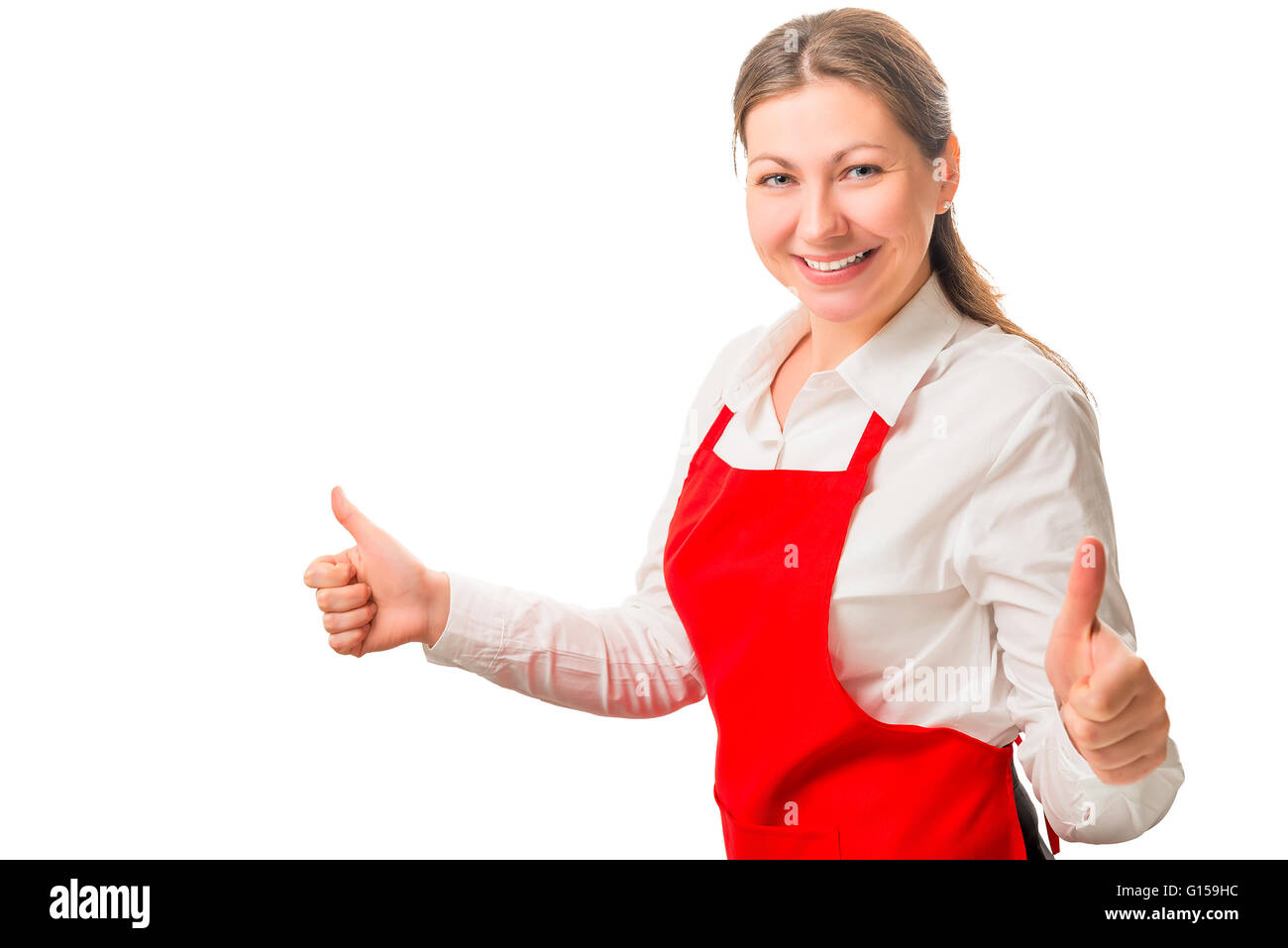 happy woman in a red apron is satisfied - Stock Image