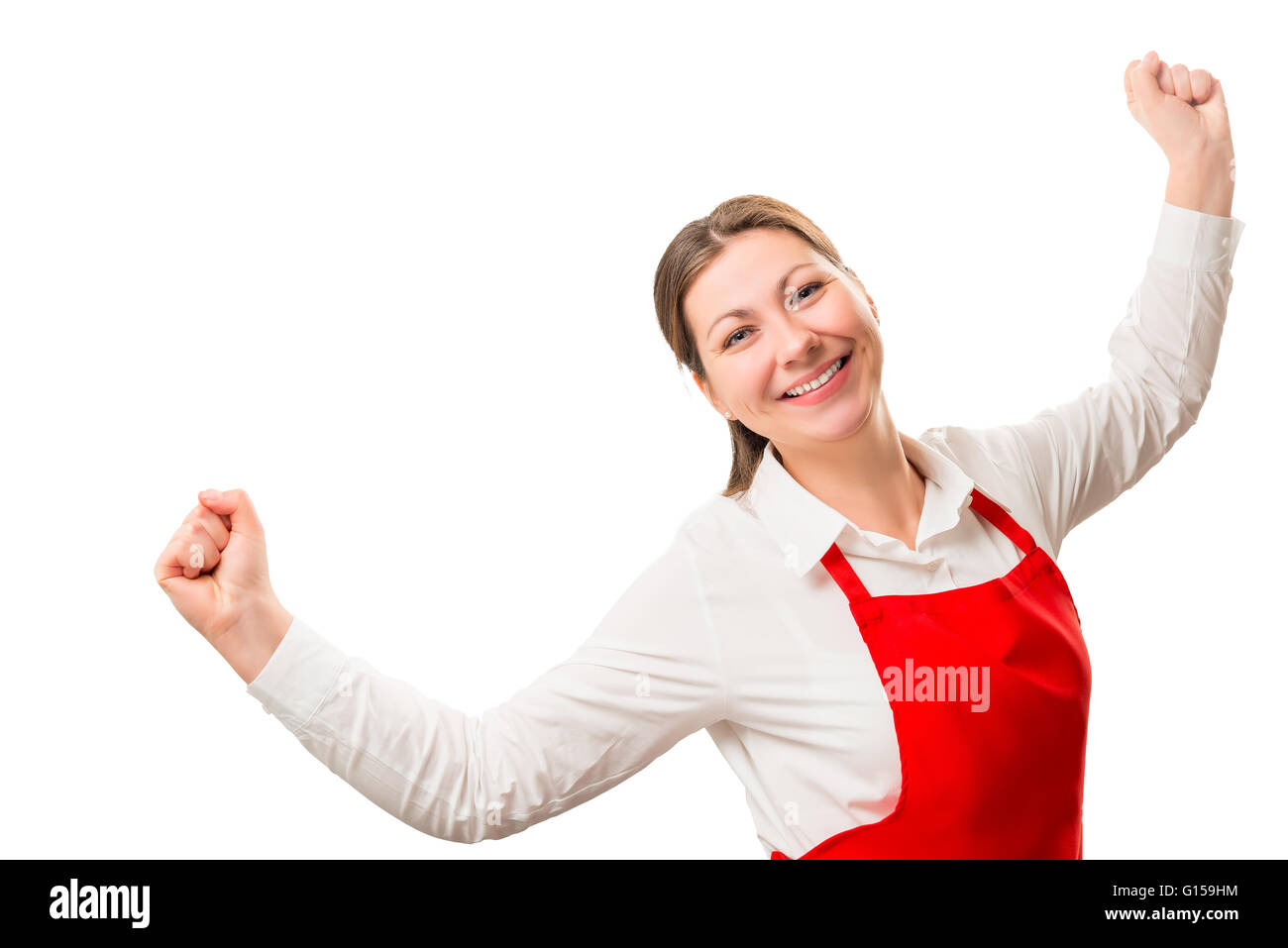 successful a housewife in red apron rejoices in isolation - Stock Image