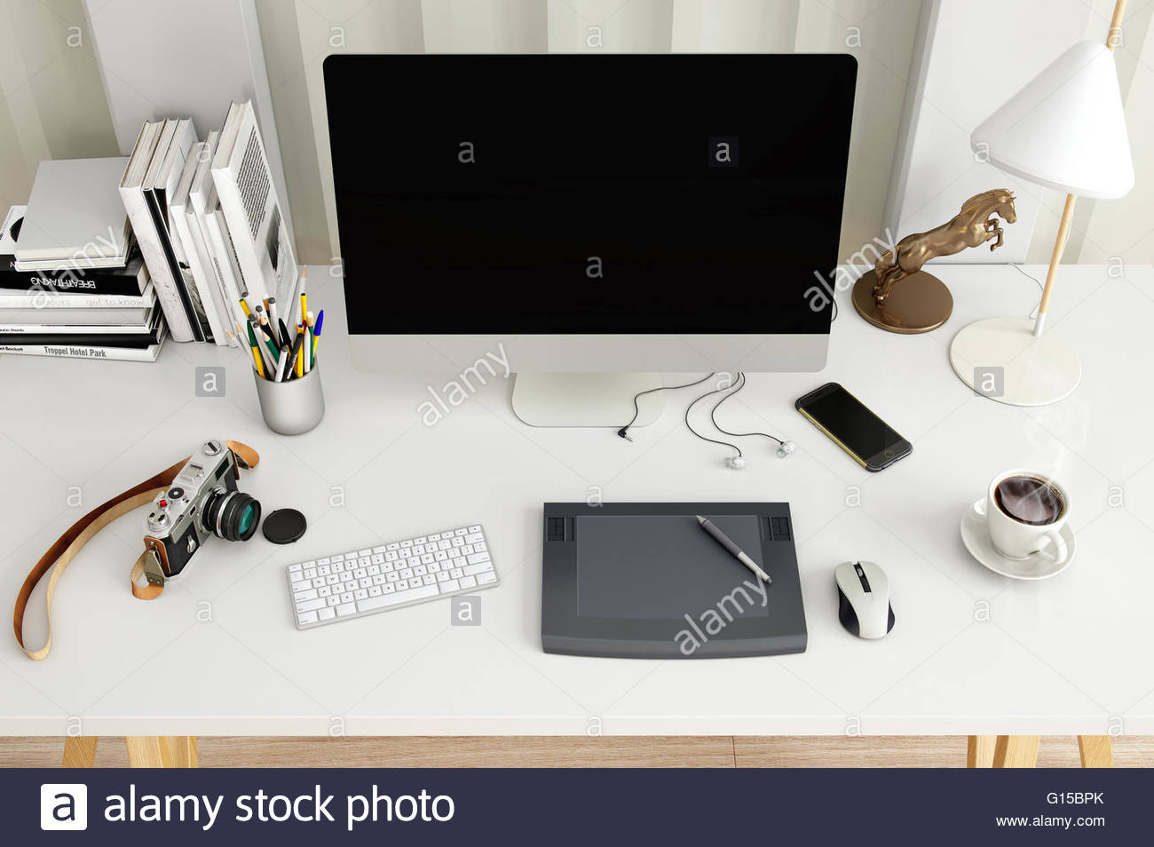 creative desktop computer with drawing tablet on a desk in office 3d