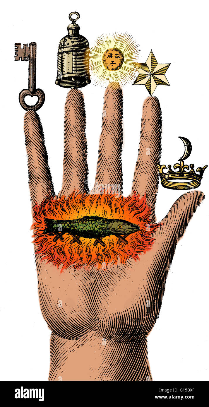 Alchemical Symbols On The Hand Of Philosophy From 1667 A Stock