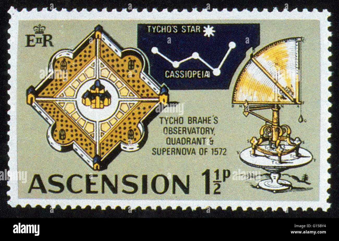 A postage stamp showing Uraniborg, an astronomical observatory operated by Tycho Brahe, along with Tycho's star, - Stock Image