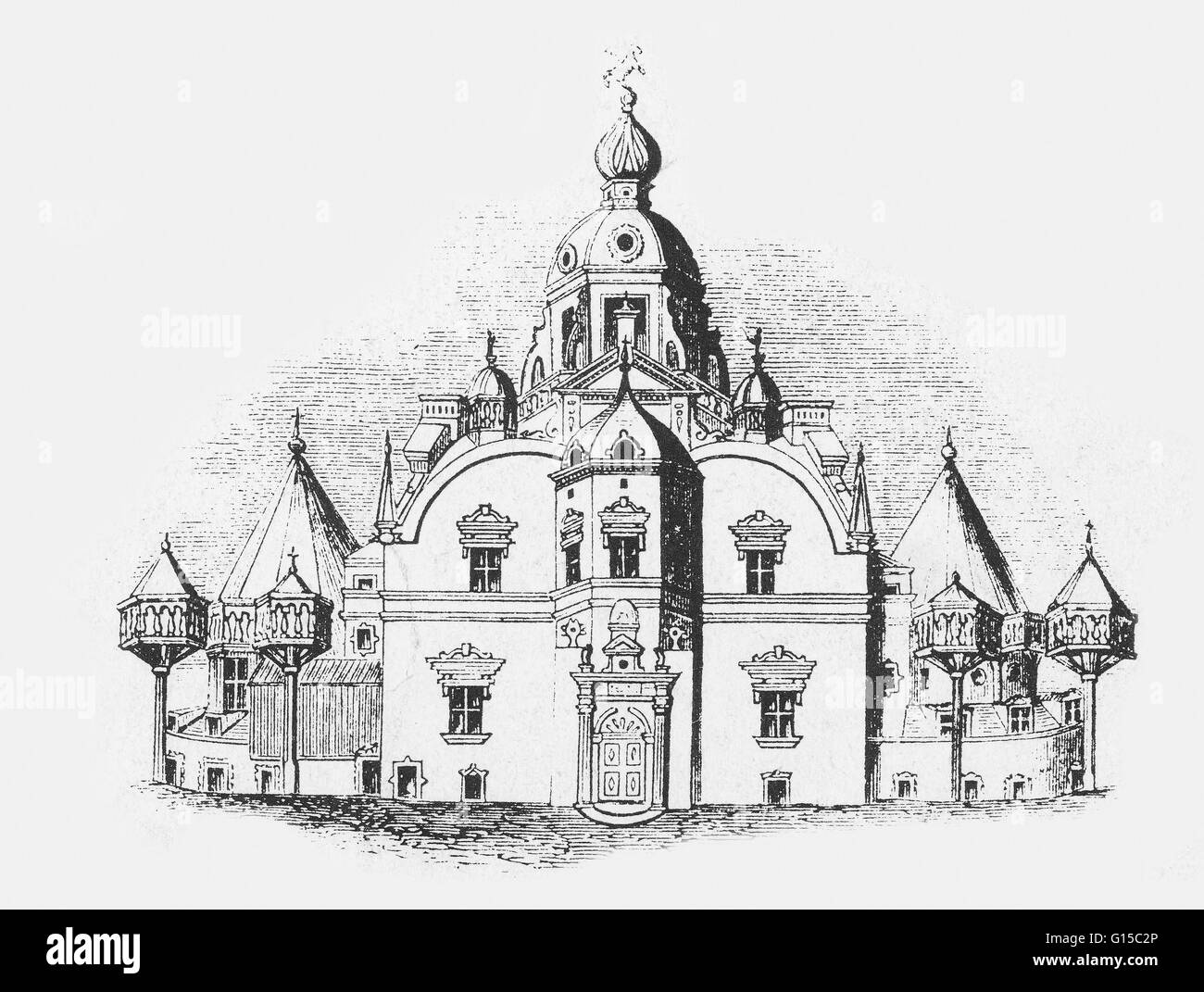 Uraniborg, an astronomical observatory operated by Tycho Brahe in Denmark. Tycho Brahe (1546-1601) was a Danish - Stock Image