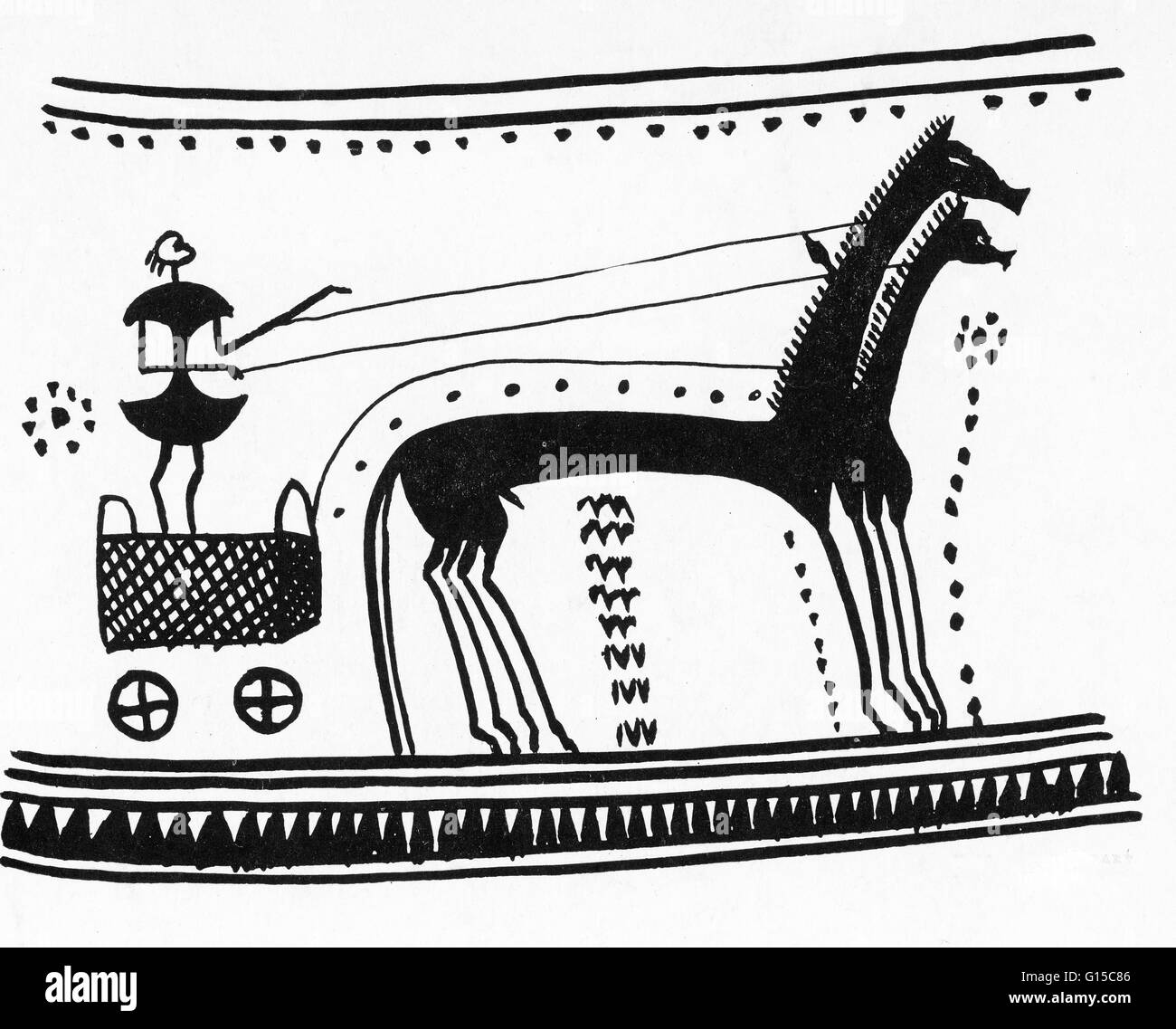 Athenian chariot. Illustration from 'Der Wagen in der Religion' by Prausnitz. - Stock Image