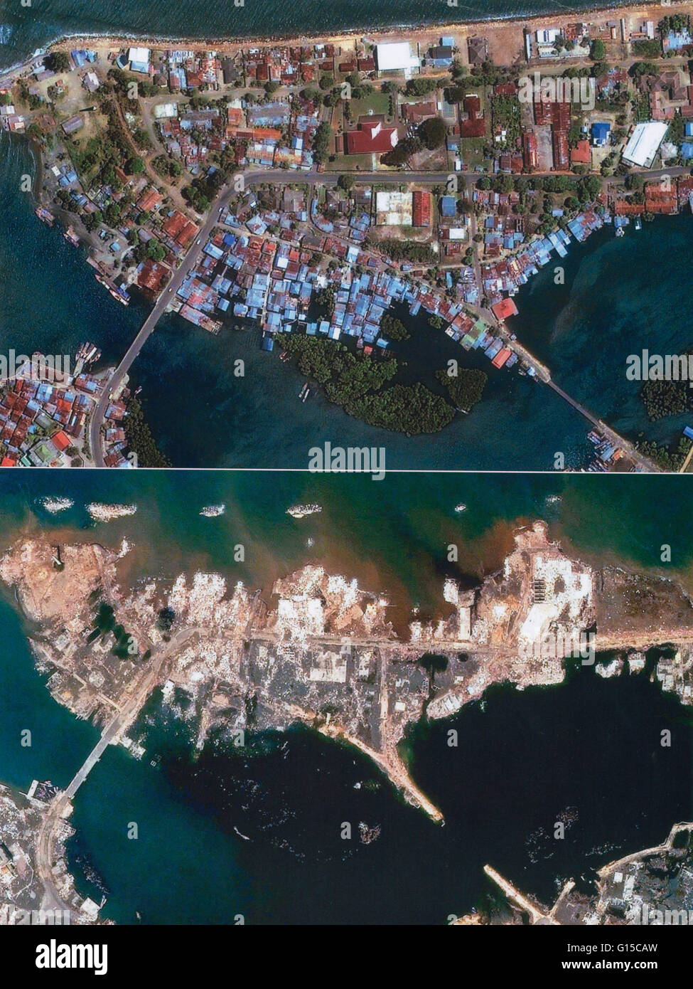 A satellite image of Sumatra, Indonesia, before and after ...