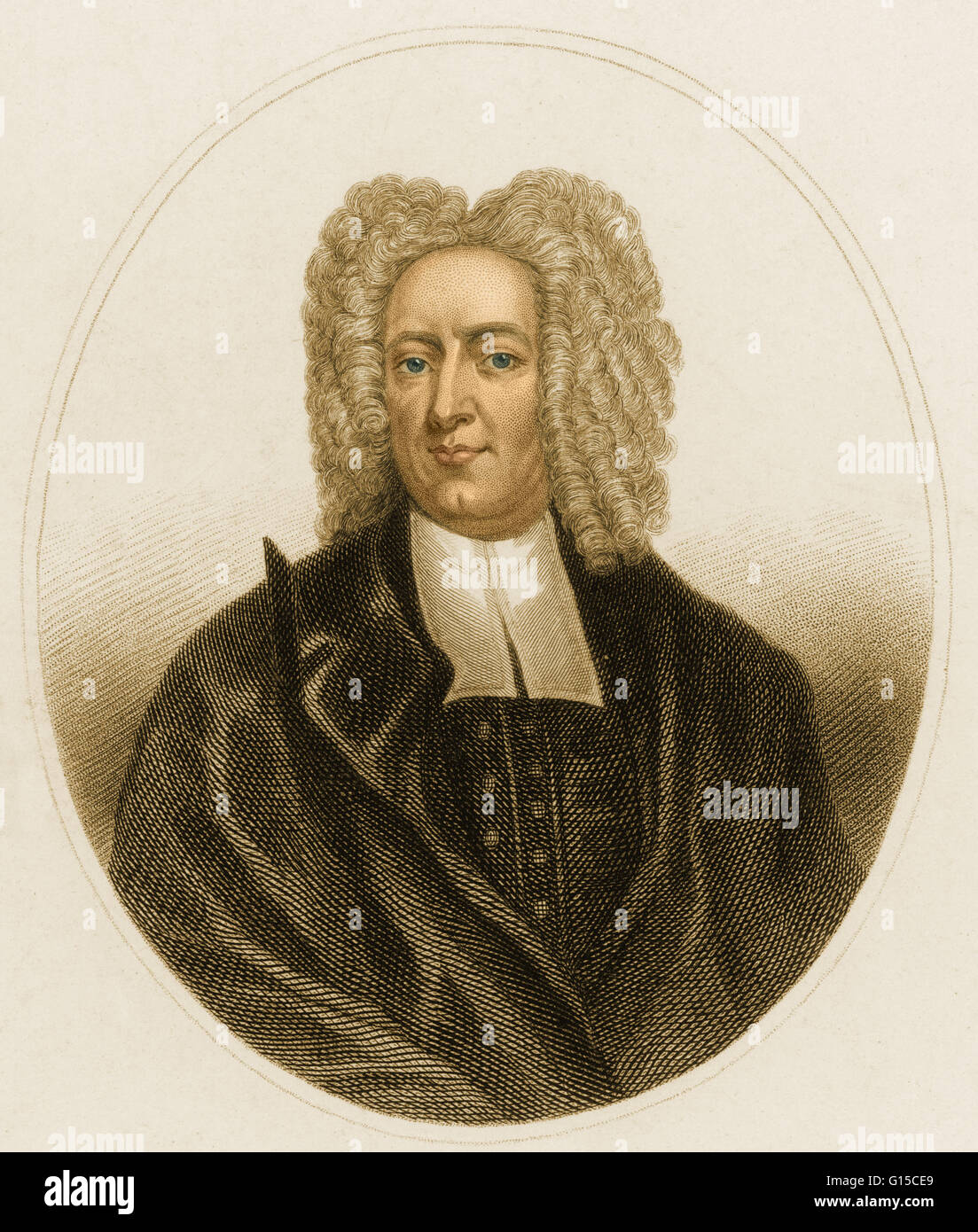 Cotton Mather (February 12, 1663 - February 13, 1728) was a socially and politically influential New England Puritan - Stock Image