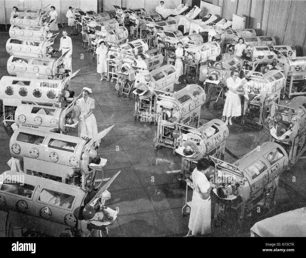 During the 1950s, as polio swept across the United States, vast iron lungs that enabled paralyzed children to breathe - Stock Image