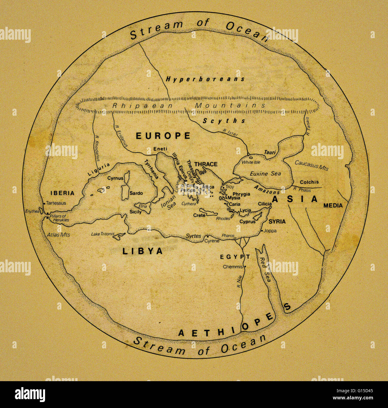 Ancient map of Europe, North Africa and the Middle East Stock Photo ...