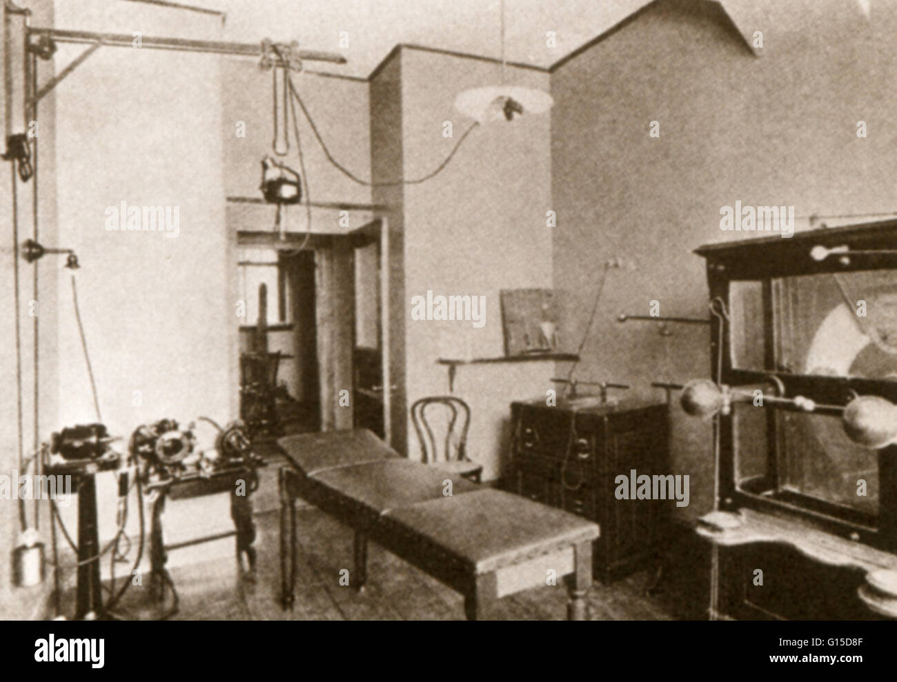 Treatment room at the Adams Nervine Asylum, Boston, c. 1904.  At the turn of the century, treatment for sufferers - Stock Image