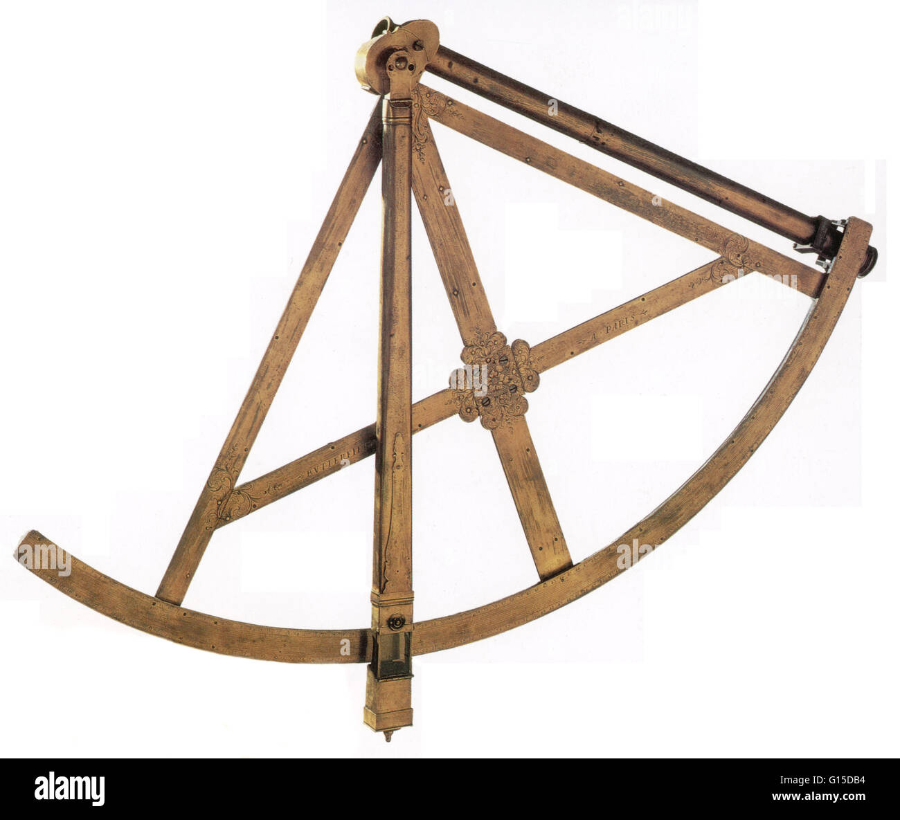 Brass astronomical quadrant was made in Paris during the late 17th to early 18th century. It would have been used - Stock Image